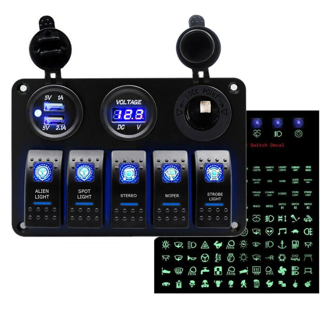 1pc 12V <font><b>5</b></font> Gang Blue LED Rocker Switch Panel Car Boat Marine <font><b>USB</b></font> Charge LCD Voltmeter Cigarette Lighter Socket With 120 Decals image