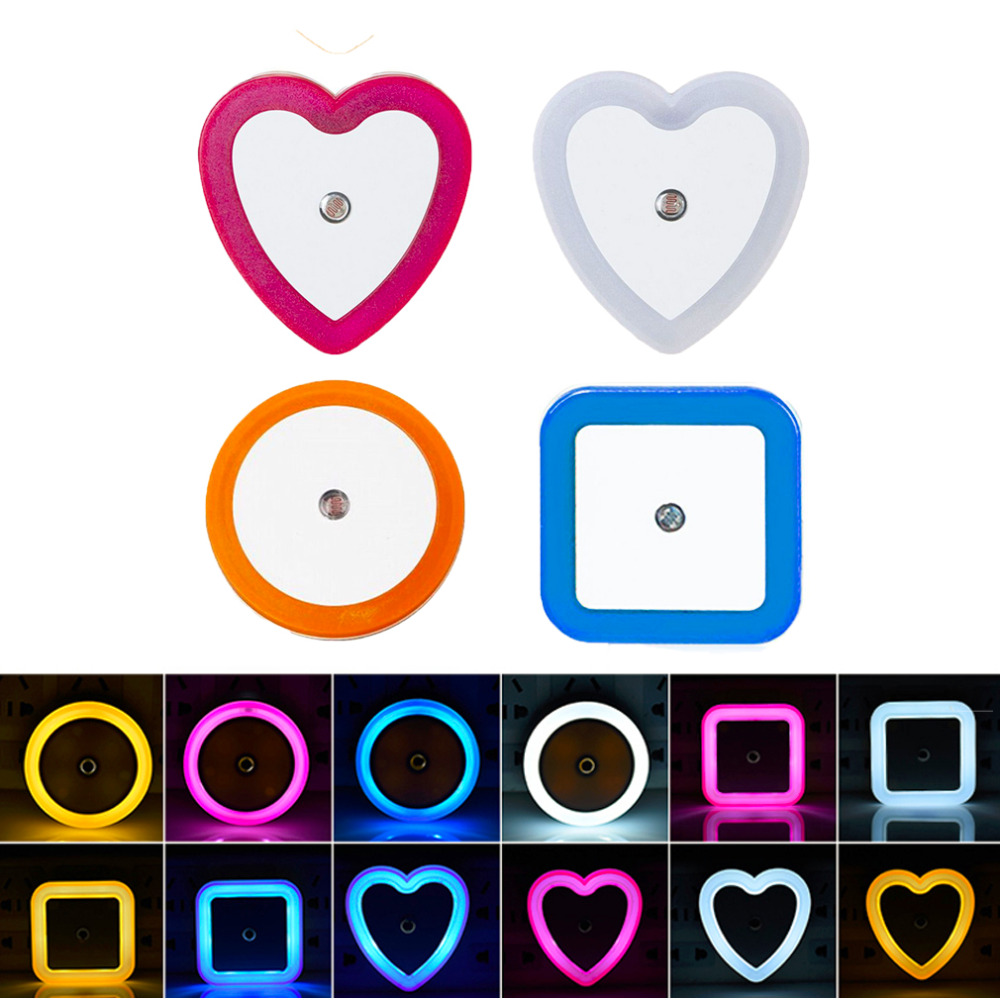 Intelligent LED Induction Night Lamp Automatic Light Sensor Bedroom Light White/Blue/Yellow/Pink US/ EU Plug 110V-220V