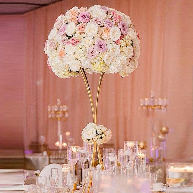 10 teile/los Blume Säule Gold Metall Blume Stehen Schöne Form Rahmen für Hochzeit Party-Event Dekoration