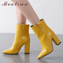 купить Meotina Autumn Ankle Boots Women High Quality Thick Heel Short Boots Slop on Extreme High Heel Shoes Lady Winter Plus Size 34-43 дешево