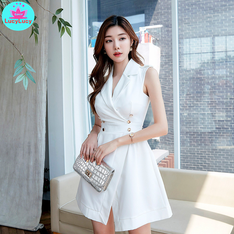 2019 summer new ladies temperament fashion Slim sleeveless slim dress Knee-Length  Zippers Sleeveless