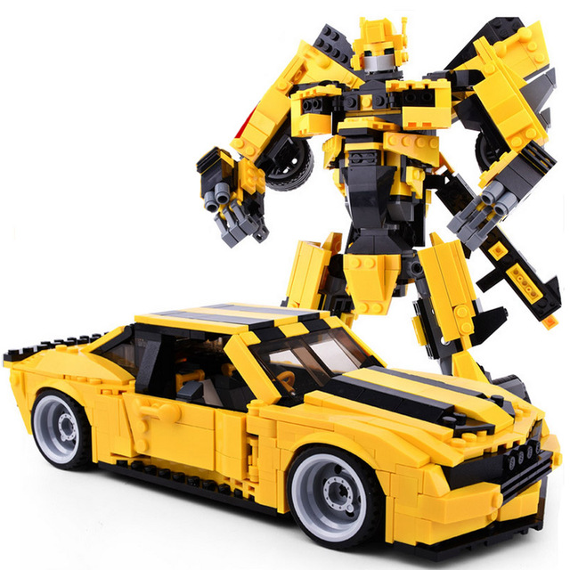 584 pcs New Version 2-in-1 Transformation Robot Bumblebee Yellow Car Building Blocks Sets Educational Hot Toys for Children