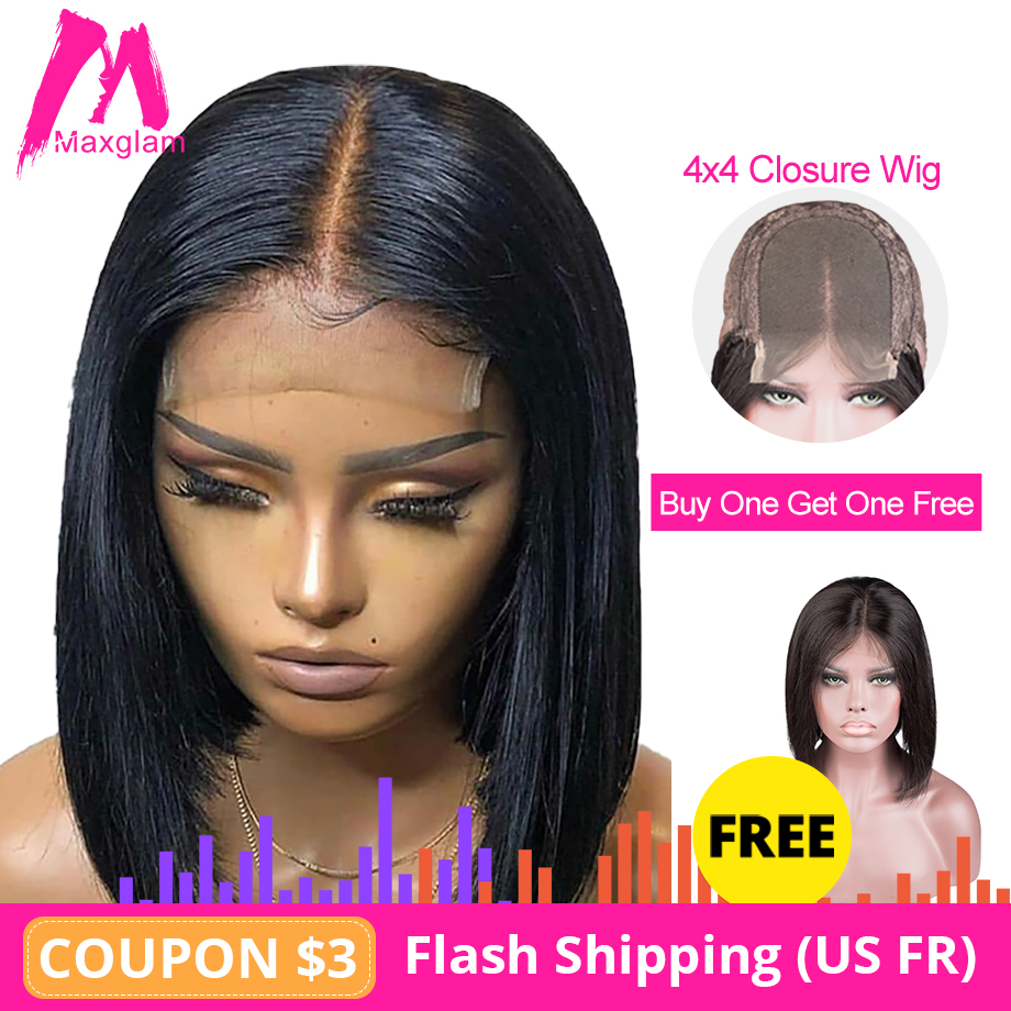 4x4 Lace Closure Wig Straight Short Bob Natural Human Hair Wigs Preplucked Long Remy Hair For Black Women Buy One Get One Free