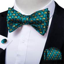 Men Green Paisley Silk Self Tie Bow Tie Neckwear For Mens Wedding Party Butterfly Bowtie Hanky Cufflinks Man Accessories DiBanGu(China)