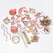Red Star Moon DIY Earrings Jewelry Package Pendant Earring Material Accessories Ear Findings Making Kit Set
