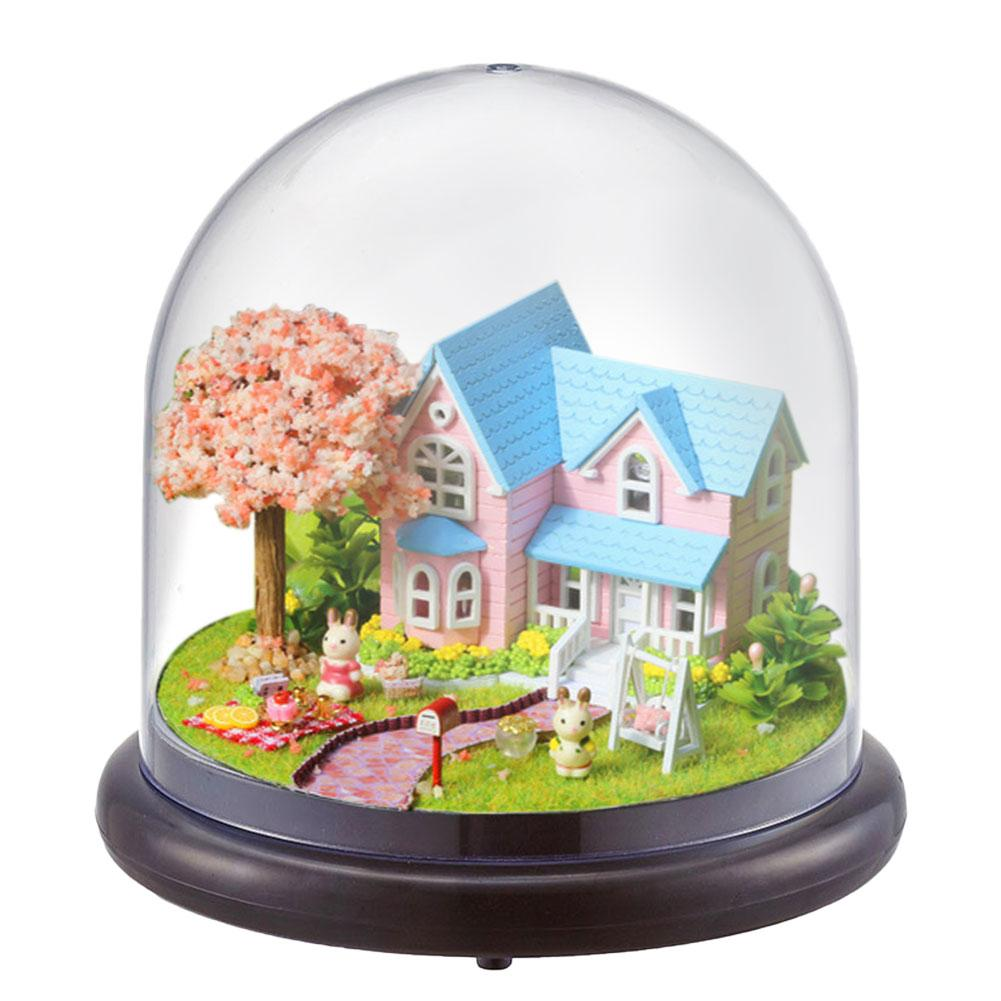 Miniature House Castle Dust Proof Wedding Costume Miniature DIY Miniature Dollhouse Kit With Music Movement Perfect Gifts