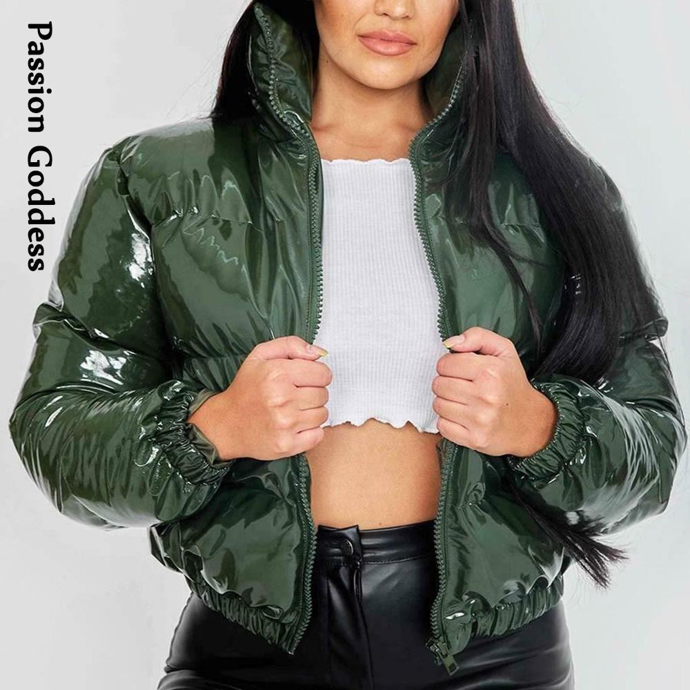Осень-зима женские Яркие Кожаные куртки-пуховики теплая свободная милое Дутое пальто, куртки-парки пуховик со стоячим воротником, однотонн...