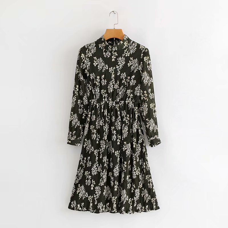 Spring New Style WOMEN'S Dress Western Style Small Stand Collar Long Sleeve High-waisted Printed Creased Dress Women's