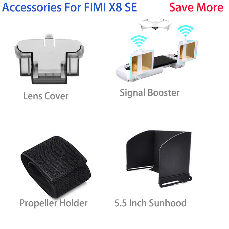 Antenna Range Extender Signal Booster Propeller Holder Fix Landing Gear Remote Sunhood  For FIMI X8 SE Drone Accessories