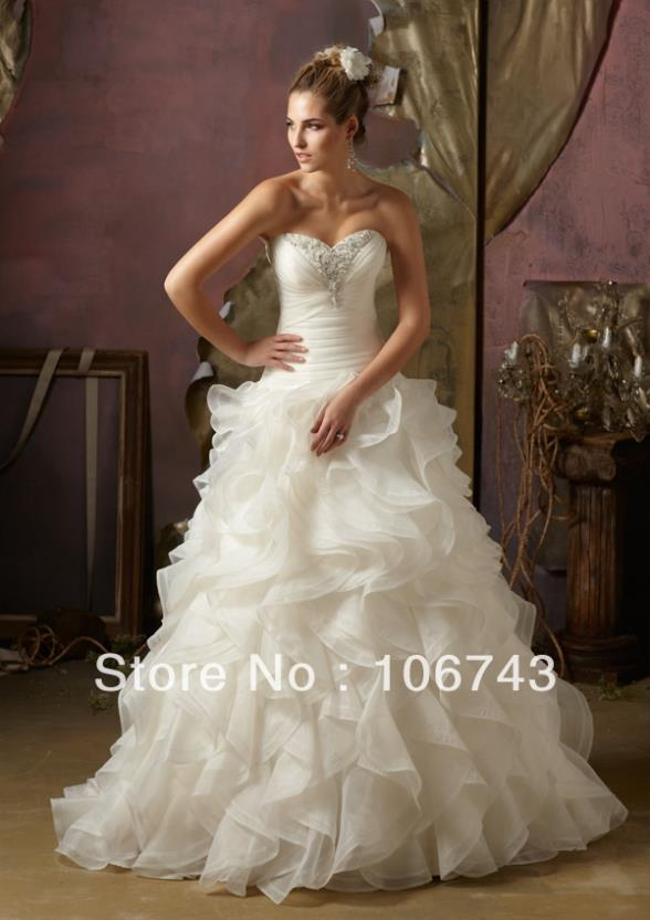 Free Shipping New Style Best Sale Sexy Wedding Gown Custom Size Crystal Wholesale/retail Sweetheart Fashion Bridal Dress