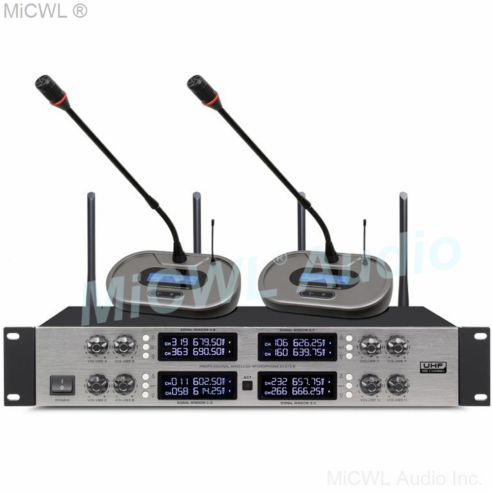 MiCWL 3828 Wireless 8 Table Conference Microphone  And  D200 Dual Channel Wireless Lavalier Microphones System