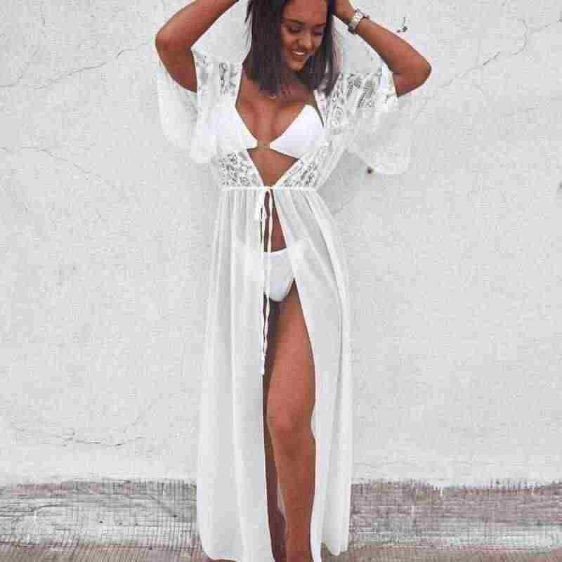 2020 Sexy robe de Plage maillots de bain femmes Plage florale dentelle maille couvrir maillots de bain Bikini longues couvre-ups Plage Zaful robe pour la Plage