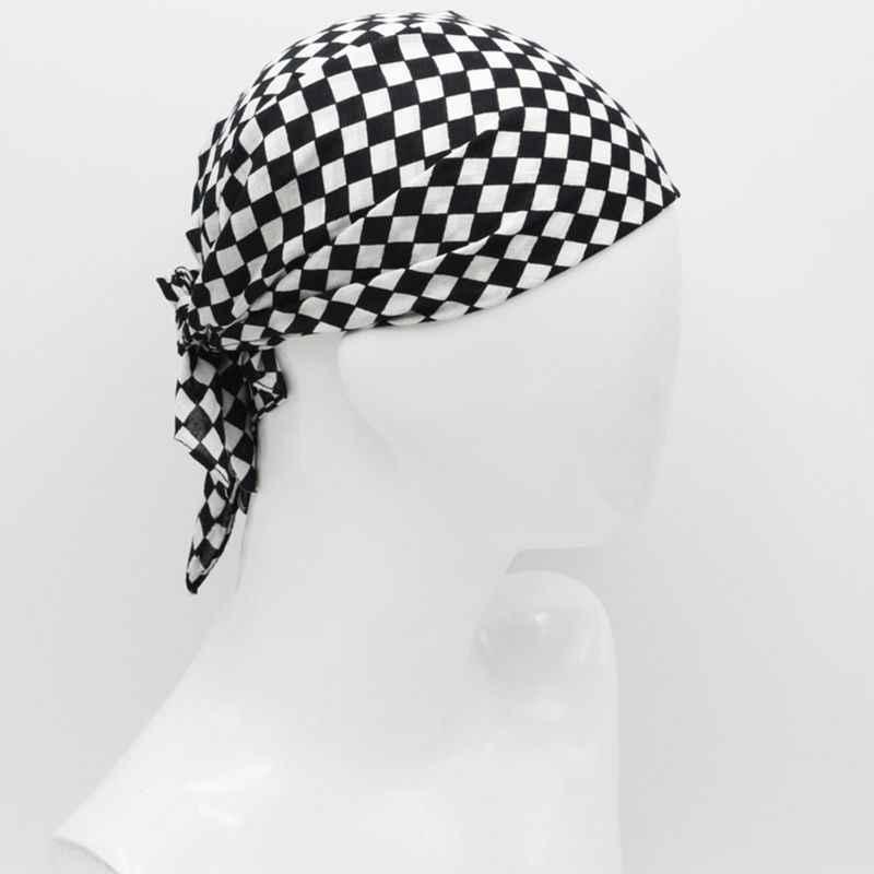 55 × 55 センチメートル白黒チェッカーフラッグレースバンダナユニセックスマルチユース正方形ヘッドバンドオートバイ屋外スポーツヘアラップリストバンド
