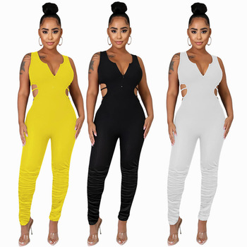 Womens Fashion Casual Solid Color Zip-up Sleeveless Pleated Stacked Jumpsuit