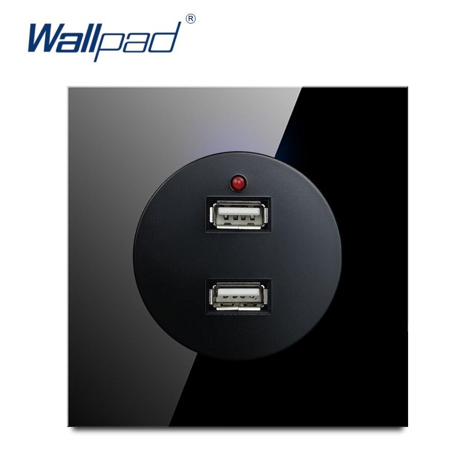 wallpad 2019 2 usb tomada carregador 5 v 2400ma nova chegada painel de vidro cristal tomada