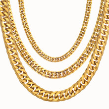 Men's Necklace Thick Gold/Silver Color Stainless Steel Male Cuban Link Chains Necklaces For Men Hip Hop Jewelry(China)