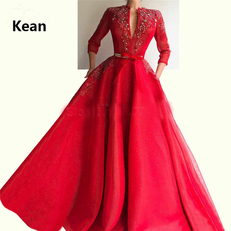 Rode Moslim Avondjurk V-hals Drie Kwart Pocket Kraal Robe Soiree Islamitische Dubai Kaftan Saudi Arabische Avondjurk Prom Dress