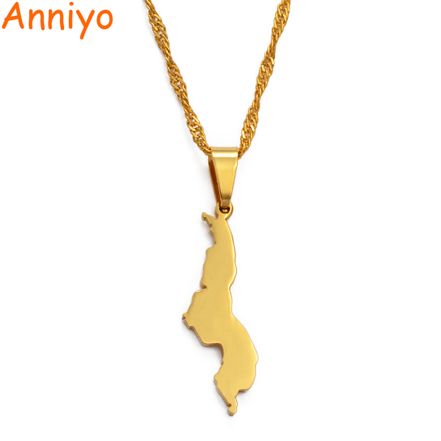 Anniyo république du Malawi pendentif & collier couleur or pays africains Dziko la Malawi bijoux cadeaux #024121
