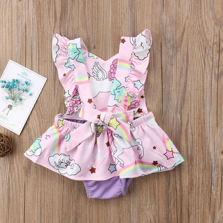 2019 ブランド Modis 女の赤ちゃんの新生児幼児幼児ユニコーンロンパースジャンプスーツドレス漫画の衣装夏のノースリーブサンドレス