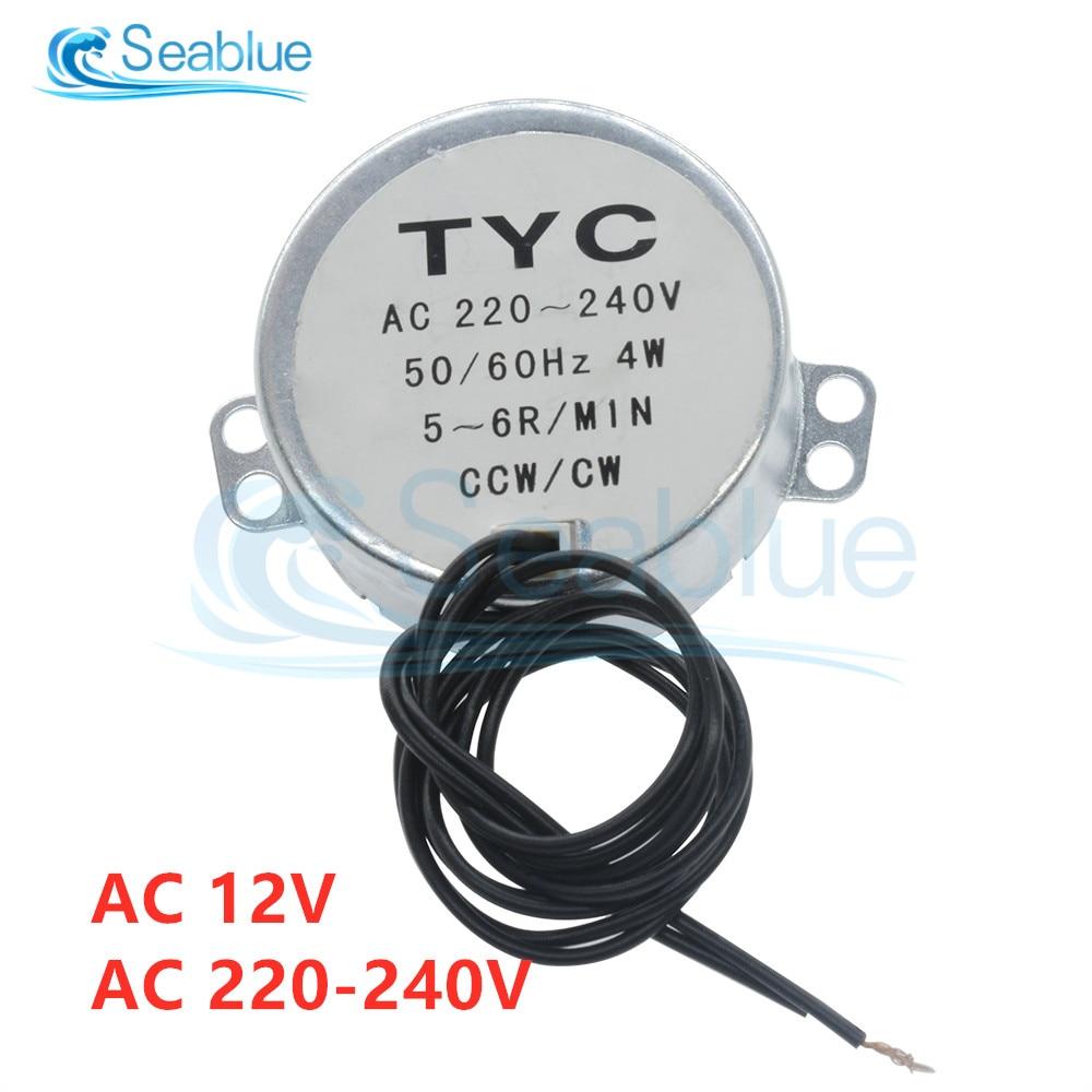 10x 5-6RPM CW//CCW 4W TYC-50 AC110-127V Synchronous Motor Torque 4KGF.CM Silver