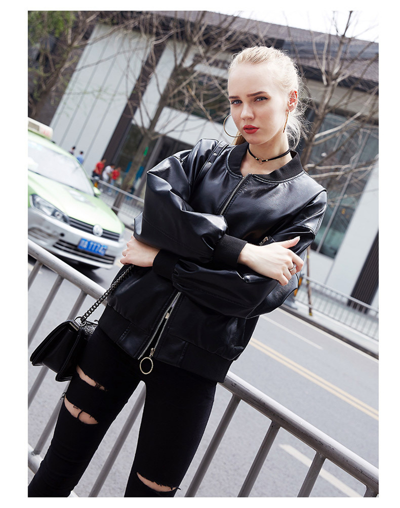 Women Black Bomber Jacket Pu Leather Female Classic Motorcycle Coat Ladies Winter Biker Coat