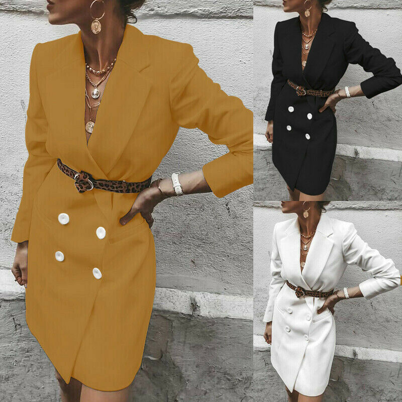 Lady Causal Formal Office Long Sleeve Blazer Autumn Button Notched Neck Solid Knee Length Blazers