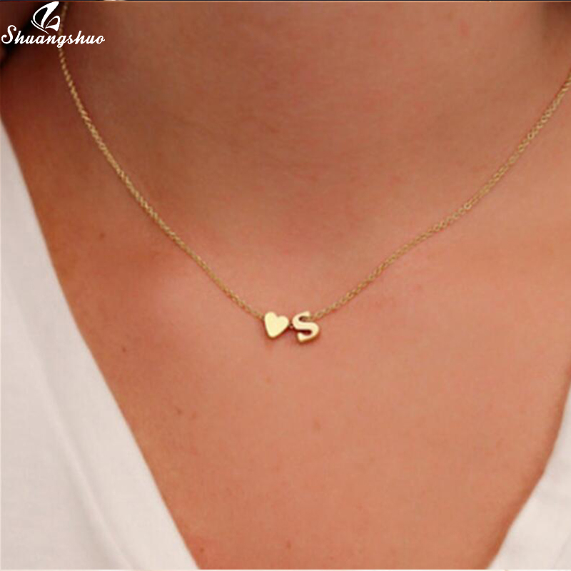 Shuangshuo Tiny Initial S Cute Mini Heart Choker Necklace Chain Love Letter Pendant Women Simple Holiday Collier Girlfriend Gift