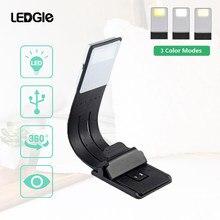 Ledgle usb recarregável lâmpada de leitura compacto luz de mesa flexível mini luzes led clip-on lanterna de mesa para kindle e livros