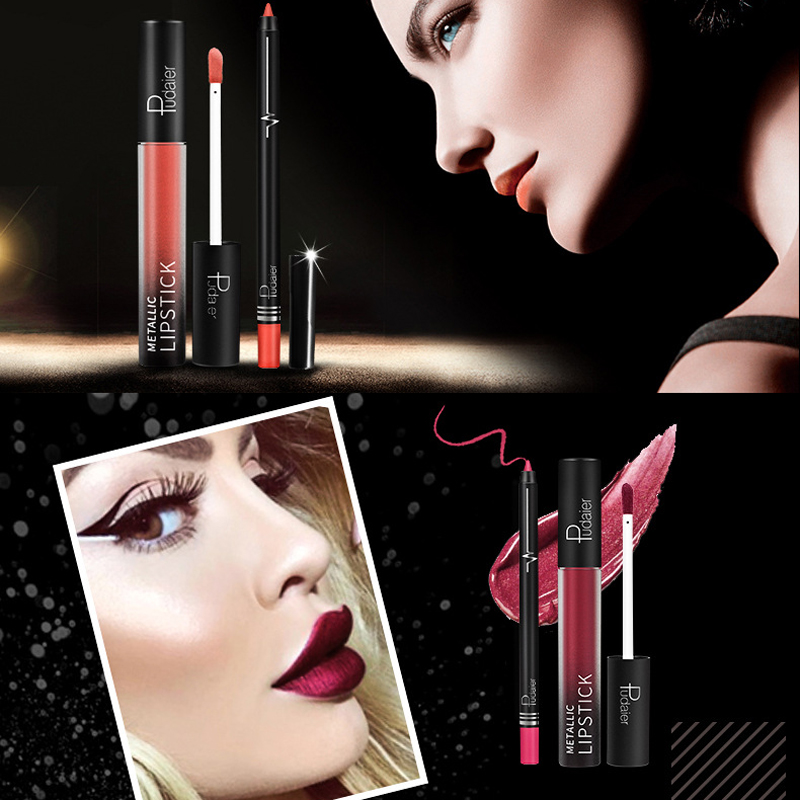 26 Color Liquid <font><b>Lipstick</b></font> Matte Makeup Waterproof 2pcs Lip Liner <font><b>Lipstick</b></font> <font><b>Set</b></font> Long Lasting <font><b>Mate</b></font> Lip Stick Liquid <font><b>Lipsticks</b></font> Makeup image
