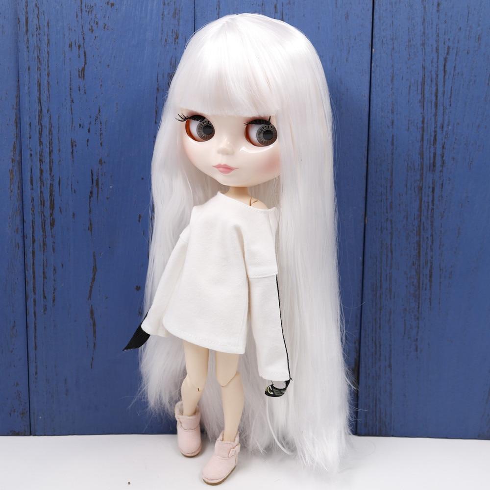 Кукла Blyth серии ICY DBS № 1/6 bl136, белые прямые волосы с челкой, белое лицо, шарнирное тело bjd