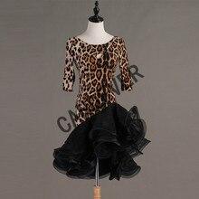Ballroom-Dress Tango Samba-Costume Dance-Wear Cha Cha Leopard Sexy Women Lace Floral