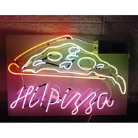 Neon Sign For hi pizza Lamp real glass tubes resterant decorate light room food Arcade DISPLAY BUSINESS Impact Attract light