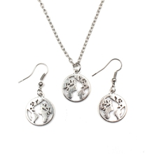 Fashion World Map Earth Pendant Necklace Jewelry Set Planet Antique Silver Small Round Gift