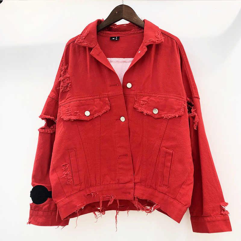 DEAT 2020 Rot Schwarz Denim Jacke Baumwolle Lose Freie Größe Mantel Herbst Große Größe Loch Jacke Frauen Pailletten Denim Jacke MF746