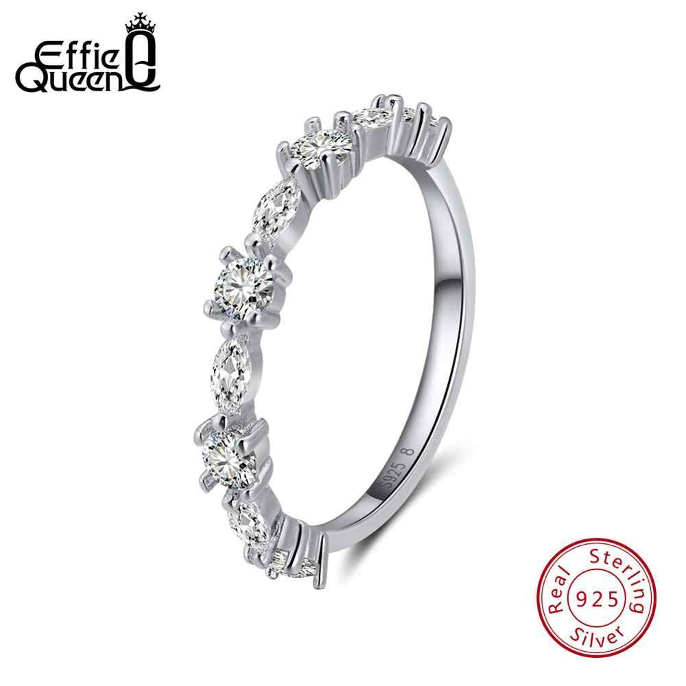 Effie Queen Real 925 Sterling Silver Women Rings Engagement Wedding Party Promise Band with 9 Pcs Shiny AAA Zircon TSR64