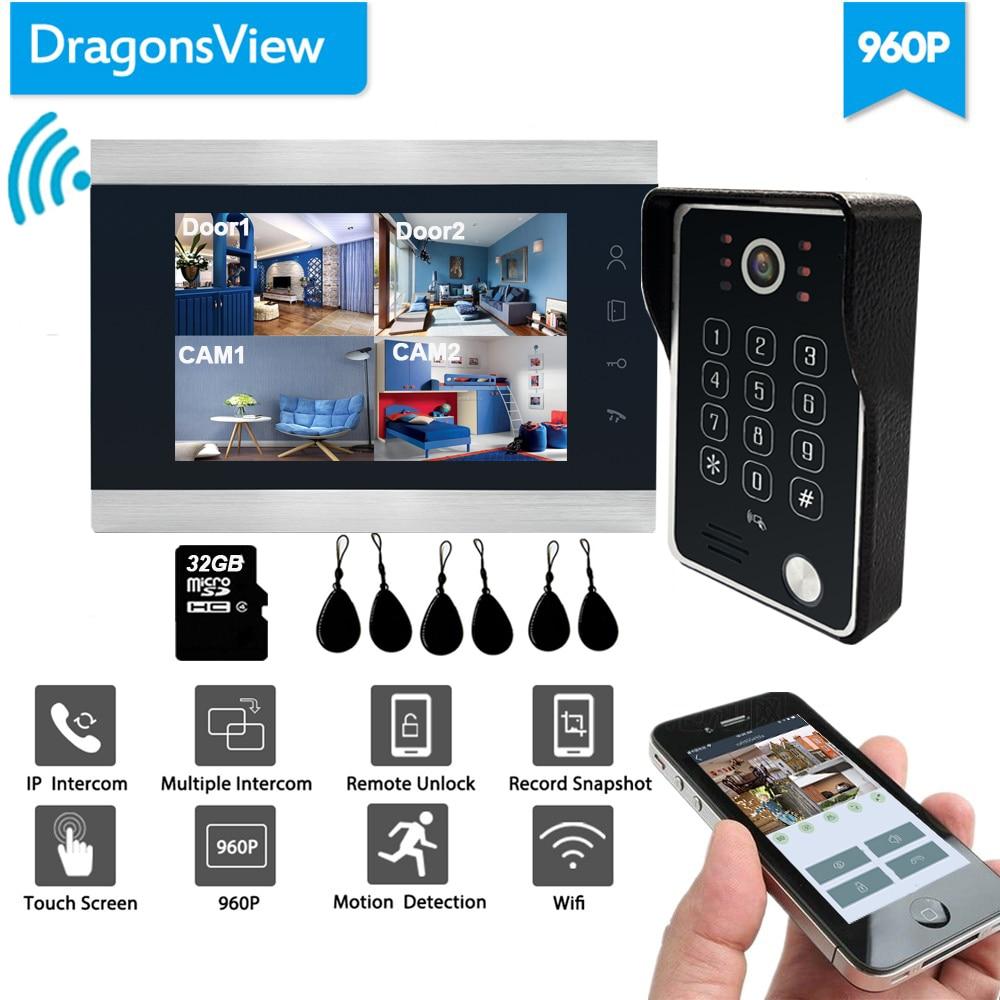 Dragonsview 960P Wifi Video Door Phone Doorbell Camera IP Door Intercom System With RFID Password Wide Angle Unlock Mobile