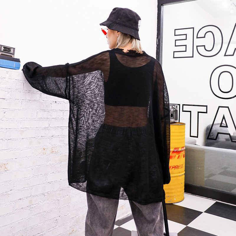 [EAM] Женская Черная трикотажная футболка с прорезями просматривающееся Новое асимметричное платье с длинным рукавом и длинным рукавом 2019 1A047