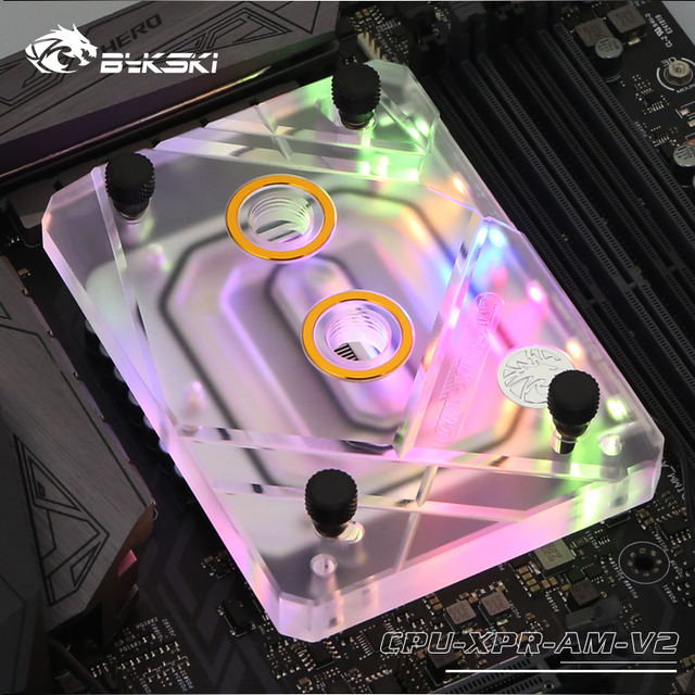 Bykski CPU Water Cooling Block Radiator use for AMD Ryzen3000 AM4 AM3 X399 1950X TR4 X570 Motherboard /Transparent Acrylic A RGB