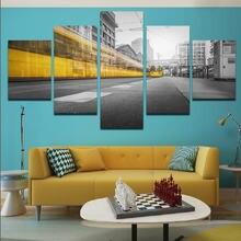 Roadside in the city желто серый 5 шт плакат с принтом картина