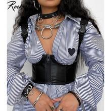 Rockmore gótico Corset de cuero PU mujeres Punk estilo Top corto con cremallera usar Bustiers sin respaldo Tank parte de arriba ropa informal 2021