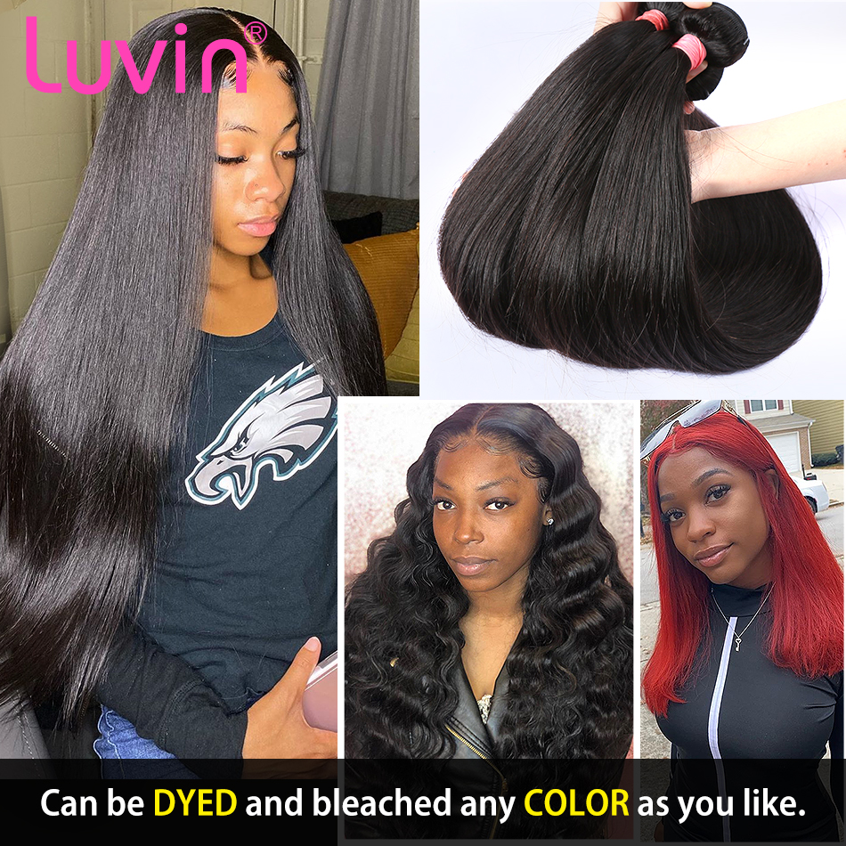 Luvin Straight 8- 40 Inch 28 30 32 Inch 100% Human Hair Unprocessed Virgin Hair Weave 1 3 4 Bundles Natrual Straight Hair Extens