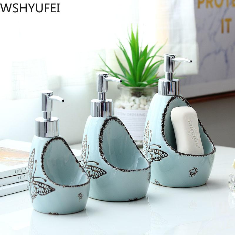 Nordic creative hand sanitizer bottle Hand-painted ceramic lotion bottle soap dispenser Hotel clubhouse bathroom decoration