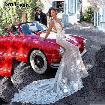 Smileven Beach Lace Mermaid Wedding Dress V Neck Appliques Bride Dresses Vestido De noiva  Wedding Gowns smileven satin mermaid wedding dress long sleeve deep v neck lace bride dresses backless vestido de noiva 2020