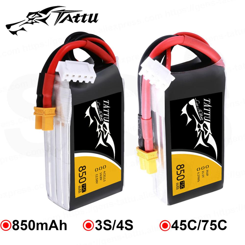 Ace Tattu LiPo Rechargeable Battery 850mAh 75C 45C 3S 4S 1P For RC FPV Racing Drone Quadcopter