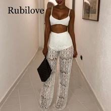 Rubilove High Waist Loose Sexy Lace Pants Women Fashion Hollow Out Crochet Long Trousers Black Beach Casual Pan