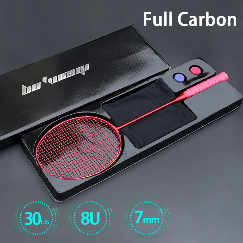 Ultra Light Professional 7U 8U 65-67G Strung Full Carbon Fiber Badminton Rackets Max 30lbs Racquet Racket With Strings Bag Padel