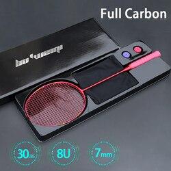 Ultra Luce Professionale 7U 8U 65-67G Infilate Completa in Fibra di Carbonio Racchette da Badminton Max 30lbs Racchetta Racchetta con corde Sacchetto Padel