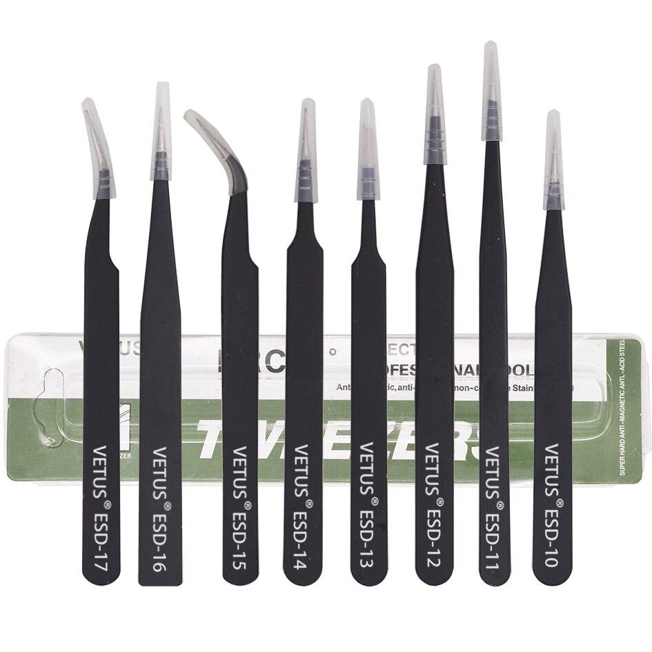 Black VETUS Tweezers HRC40 Antistatic Stainless Steel Nipper ESD 10 11 12 13 14 15 16 17 For Phone Repair Mend Tools 400pcs/lot