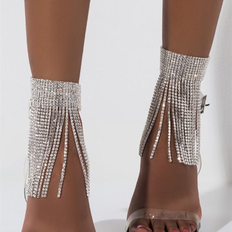 1PC Shiny Women's Tassel Crystal Charms Anklets Chain Rhinestone Foot Jewelry Barefoot Sandal for Wedding Leg Bracelet Jewelry