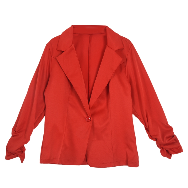 New Womens Color Blazer Jacket Suit Work Casual Basic Long Sleeve Candy Button Red Size M